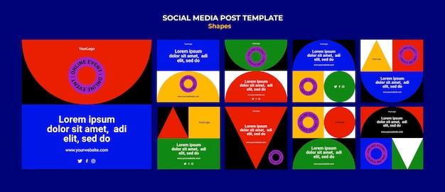 Abstrakcyjne kolorowe kształty postów na instagramie