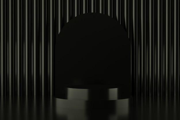 Abstrakcyjny kształt geometryczny w czarnym kolorze, nowoczesny minimalistyczny wyświetlacz na podium lub prezentacja