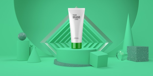 Abstrakt zieleni pokazu podium z geometrycznego kształta pastelowego koloru kosmetycznym szablonem 3d odpłaca się