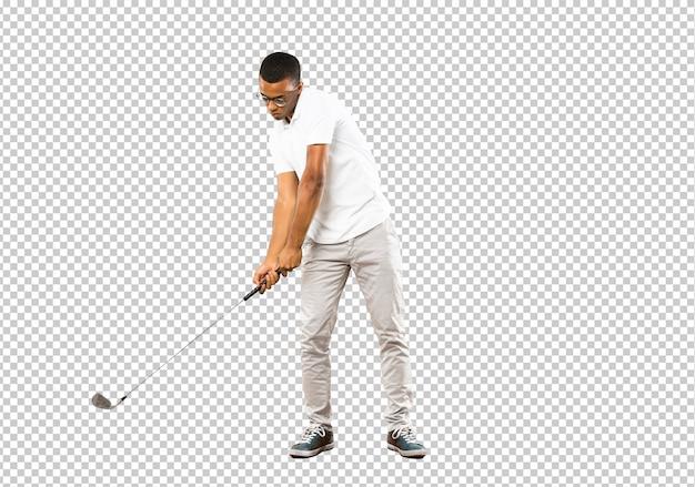 Afro amerykański gracz golfista człowiek