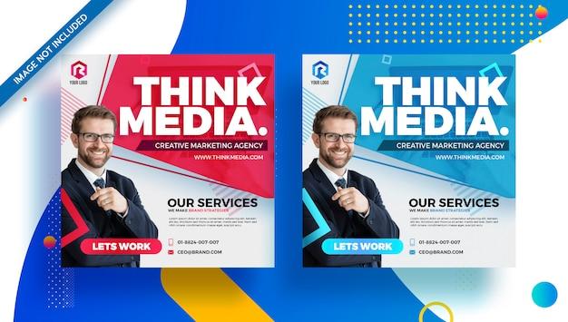 Agencja brandingowa biznes korporacyjny media społecznościowe nowoczesna ulotka banerowa