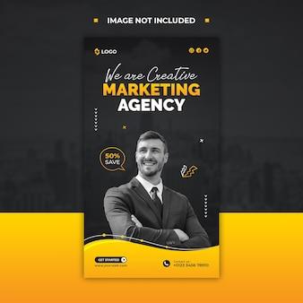 Agencja marketingowa promująca historię na instagramie lub szablon postu w mediach społecznościowych