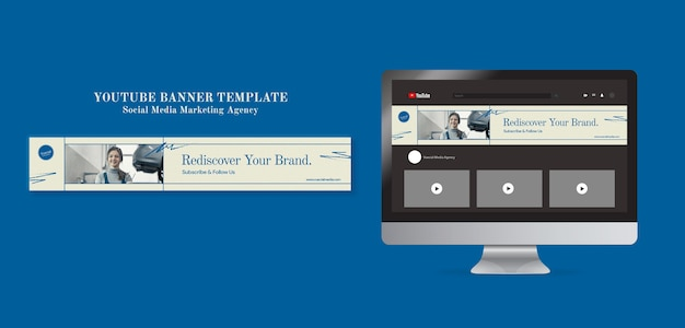 Agencja marketingowa w mediach społecznościowych szablon projektu banera youtube
