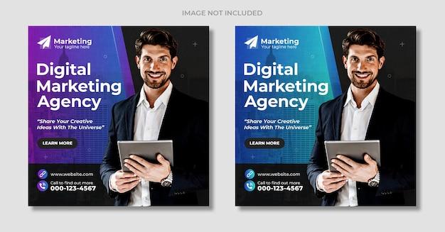 Agencja marketingu cyfrowego i elegancki korporacyjny szablon postu na instagramie