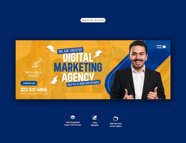 Agencja marketingu cyfrowego i korporacyjny szablon okładki na facebooku