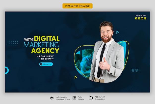 Agencja marketingu cyfrowego i szablon korporacyjnego banera internetowego