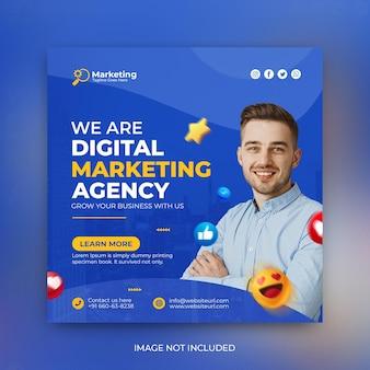 Agencja marketingu cyfrowego i szablon postu promocyjnego w mediach społecznościowych psd