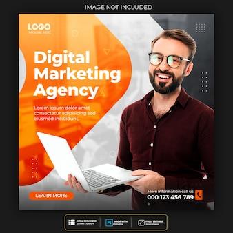 Agencja marketingu cyfrowego i szablon postu w korporacyjnych mediach społecznościowych
