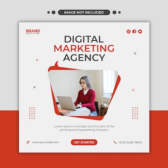 Agencja marketingu cyfrowego media społecznościowe, instagram, baner internetowy lub kwadratowy szablon ulotki