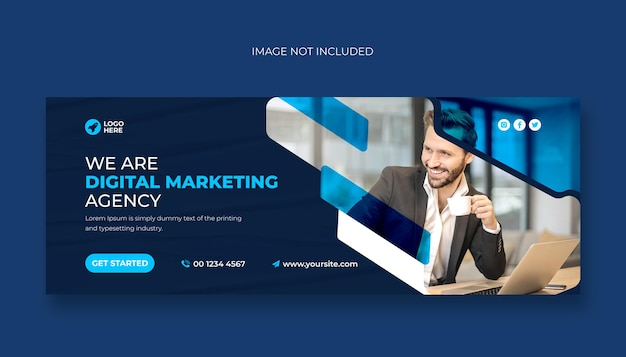 Agencja marketingu cyfrowego okładka na facebooku lub szablon banera internetowego