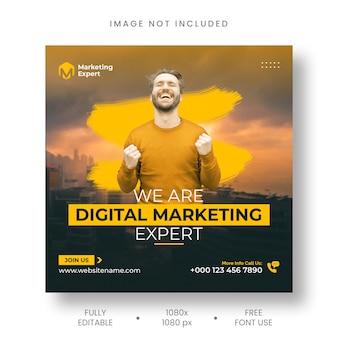 Agencja marketingu cyfrowego post na instagramie i szablon banera w mediach społecznościowych