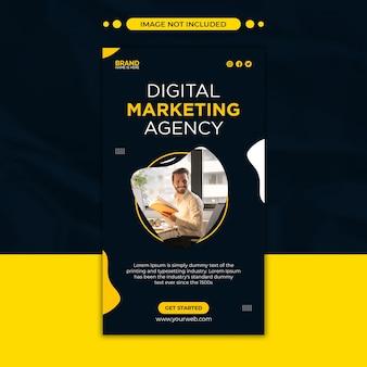 Agencja marketingu cyfrowego post w mediach społecznościowych i szablon historii na instagramie