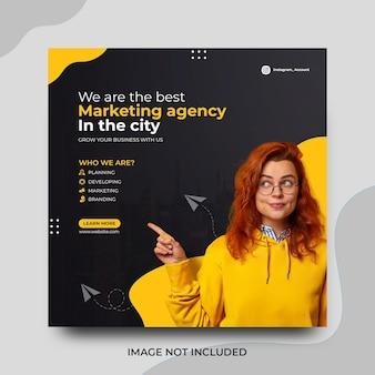 Agencja marketingu cyfrowego post w mediach społecznościowych szablon projektu promocji na instagramie