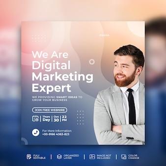 Agencja marketingu cyfrowego social media marketing kwadratowy szablon postu na instagramie psd