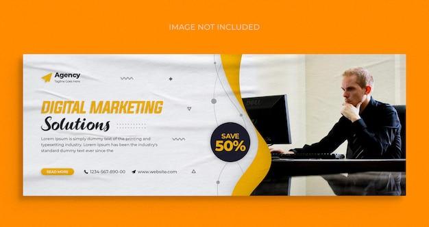 Agencja marketingu cyfrowego, ulotka baneru internetowego w mediach społecznościowych i szablon projektu zdjęcia na okładkę na facebooka