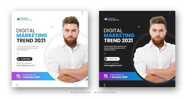 Agencja marketingu cyfrowego w mediach społecznościowych post na instagramie, baner internetowy lub szablon kwadratowej ulotki