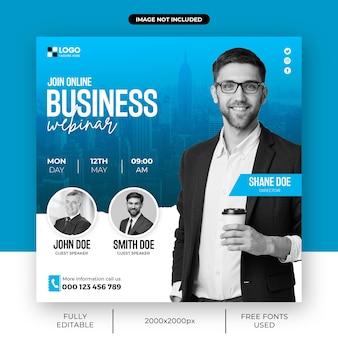 Agencja marketingu cyfrowego webinarium na żywo i szablon postu w mediach społecznościowych dla firm