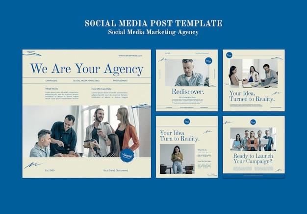 Agencja marketingu społecznościowego insta szablon projektu postu w mediach społecznościowych