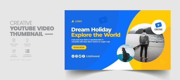 Agencja podróży miniatura wideo youtube i szablon banera internetowego