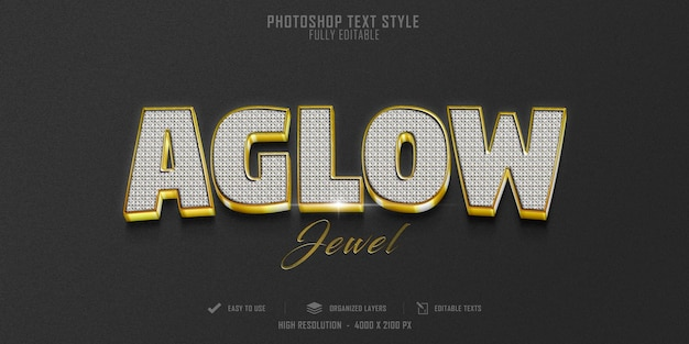 Aglow 3d text style effect template design
