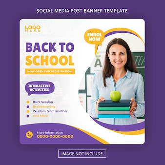 Akademia szkolna edukacja wstęp post w mediach społecznościowych i baner internetowy premium psd