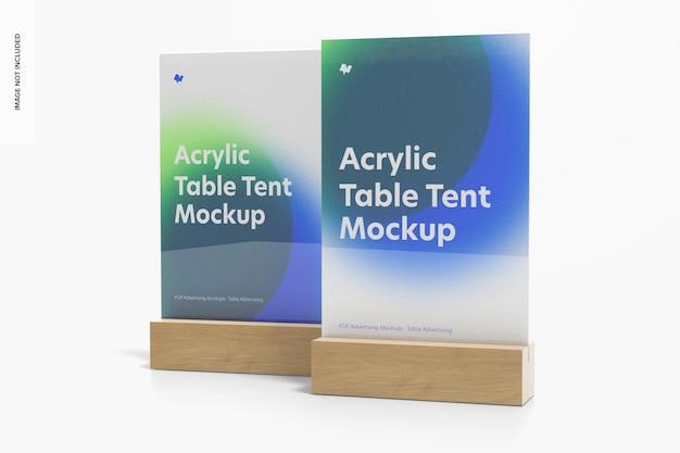Akrylowe Namioty Stołowe Z Makietą Drewnianej Podstawy, Widok Z Przodu Premium Psd