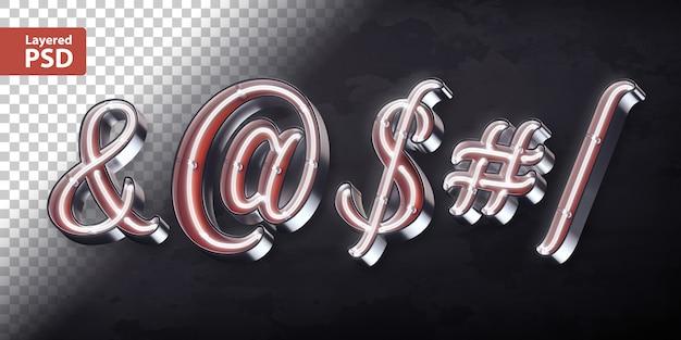 Alfabet 3d z błyszczącym neonowym kształtem