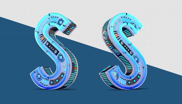 Alfabet 3d z efektem niebieskiego neonu i neonu.
