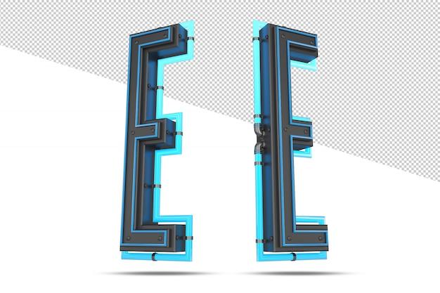 Alfabet 3d z efektem niebieskiego neonu