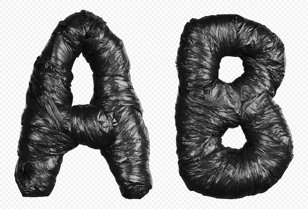 Alfabet czarny worek na śmieci litery a i b na białym tle