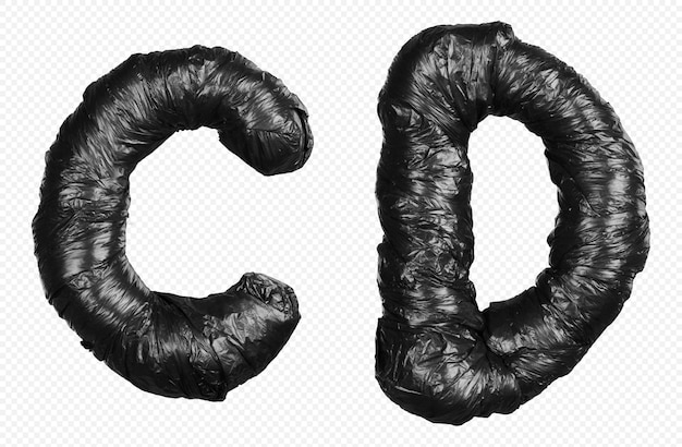 Alfabet czarny worek na śmieci litery c i d na białym tle