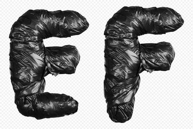 Alfabet czarny worek na śmieci litery e i f na białym tle