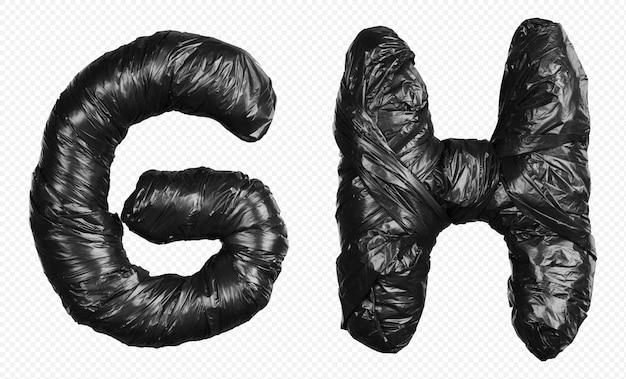 Alfabet czarny worek na śmieci litery g i h na białym tle