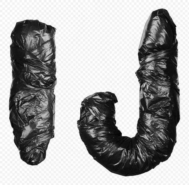 Alfabet czarny worek na śmieci litery i i j na białym tle