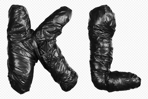 Alfabet czarny worek na śmieci litery k i l na białym tle