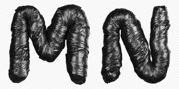 Alfabet czarny worek na śmieci litery m i n na białym tle