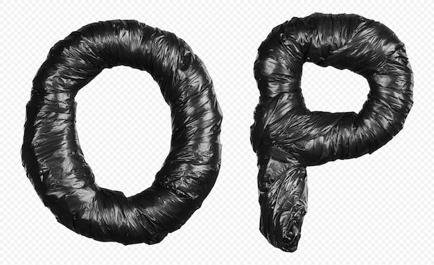 Alfabet czarny worek na śmieci litery o i p na białym tle
