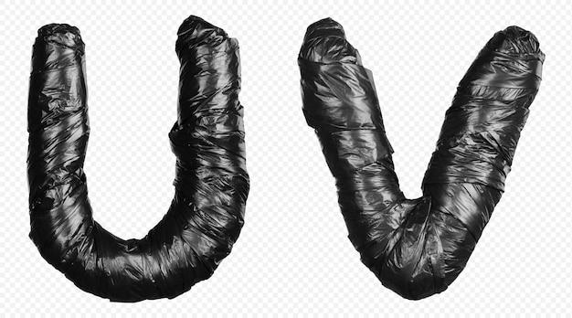 Alfabet czarny worek na śmieci litery u i v na białym tle