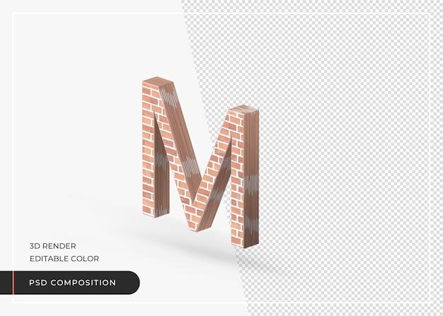 Alfabet efekt cegły na białym tle renderowania 3d