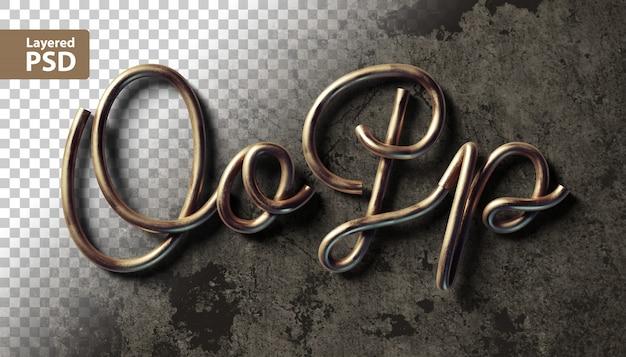 Alfabet kaligraficzny wykonany z miedzianych drutów