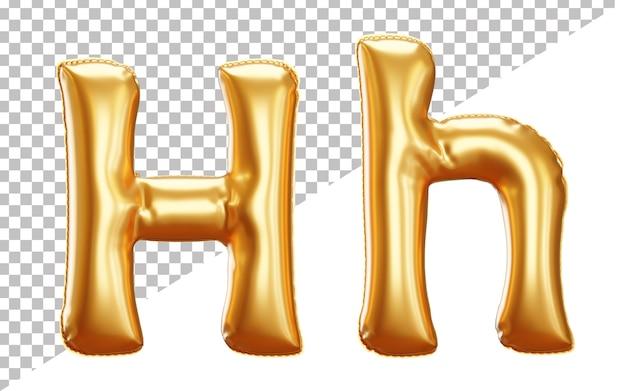 Alfabet litery h balonu foliowego w renderowaniu 3d z dużymi i małymi literami
