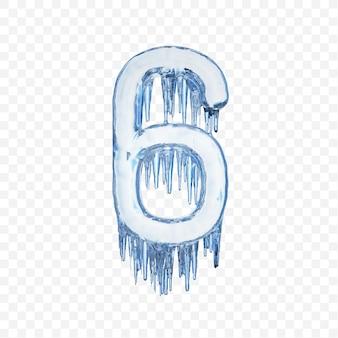 Alfabet numer 6 wykonany z niebieskiego topniejącego lodu na przezroczystym tle