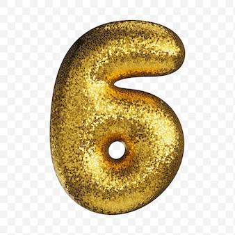 Alfabet numer 6 wykonany ze złotego papieru brokatowego na przezroczystym tle