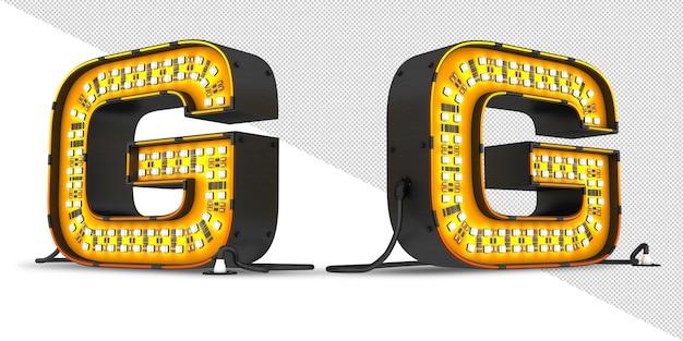 Alfabet światła led renderowania 3d, plik psd.