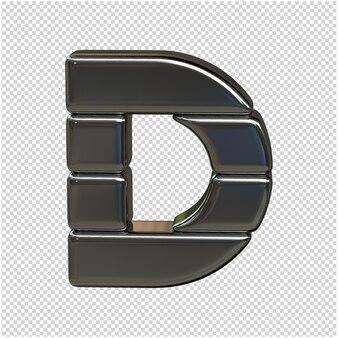 Alfabet wykonany ze srebrnych sztabek. 3d litera d