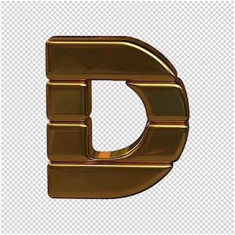 Alfabet wykonany ze sztabek złota. 3d litera d