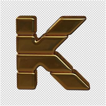 Alfabet wykonany ze sztabek złota. 3d litera k