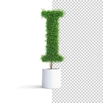 Alfabet zielone drzewo litera i