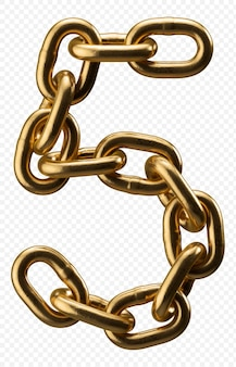 Alfabet złoty łańcuch numer 5 na przezroczystym, ilustracji 3d
