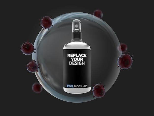 Alkohol w sprayu wirus koronowy makieta renderowania 3d